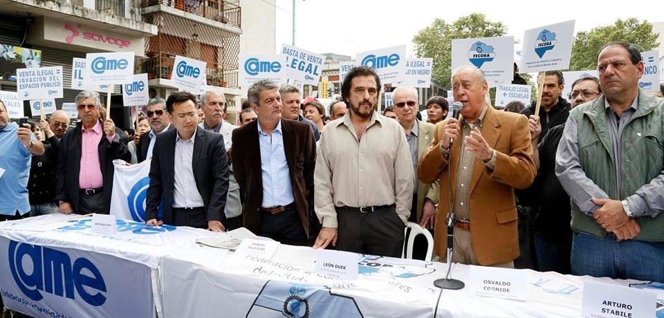 PROTESTA DE CAME-FECOBA Y COMERCIANTES CONTRA LA VENTA ILEGAL