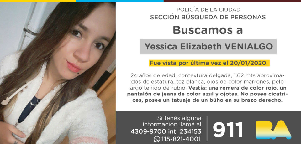 La Policía de la Ciudad solicita colaboración en la búsqueda de Yessica Elizabeth Venialgo.