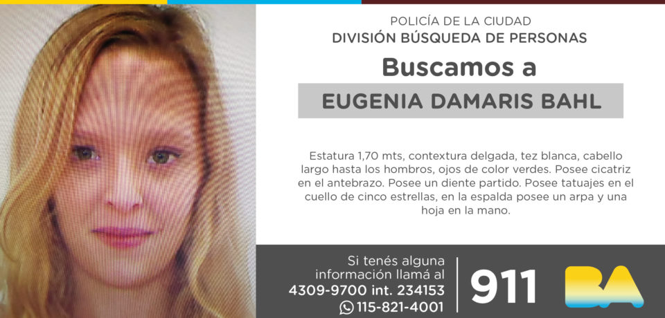 La Policía de la Ciudad solicita colaboración en la búsqueda de Eugenia Damaris Bahl