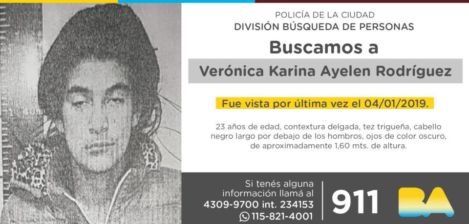 La Policía de la Ciudad solicita colaboración en la búsqueda de Verónica Karina Ayelén Rodríguez